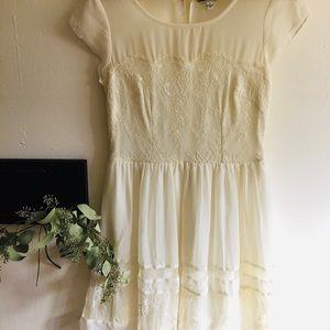 Ivory Chiffon Lace Mini Dress - American Eagle